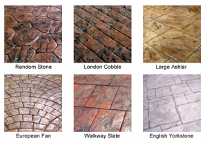 Pattern imprinted concrete for driveways and patios. Chart for available patterns